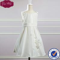 Goingwedding Taffeta Sleeveless Little Girl Dress For Wedding Ivory Flower Girl Dress With Flower Details HT045