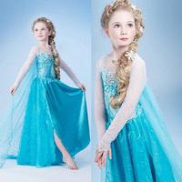 New 2014 Frozen Elsa dress Girl Princess Dress Summer frozen cosplay long dress Elsa Costume,baby kids dresses Drop shipping
