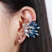 Women Multicolor Crystal Clip Earring Statement Jewelry Gold Rhinestone Ear Cuff Beautiful Butterfly Stud Earrings Free Shipping