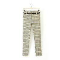 2014 New Autumn Girls Waving Printed Long Pants Cotton blends Women Leisure Zipper Fly Trousers with Belt 4023101104
