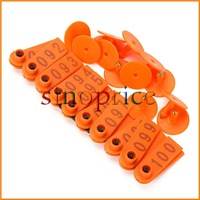 100pcs 1-100 Number Livestock Ear Tag Label Marker Plastic Plate Orange for Cow Pig Sheep Free Shipping