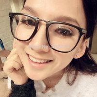 Free shipping 2014 women's fashion metal half-rim glasses frame brand design retro big box myopia frame