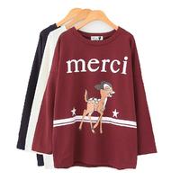 HOT! 2014 Autumn Women Korean Street Fashion Cute Deer Letter Print Loose Batwing Sleeve Pullover Sweatshirts 3 Colors Y-1109