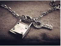 Guaranteed 100% 316L Titanium Steel lock key pendant Brand girls chunky necklaces bubblegum trendy statement 2014   N320