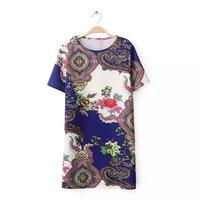 2014 New Autumn Women 2 Color Vintage Flower Prints Short Sleeves O-Neck Straight Above Knee Dresses 5016306804