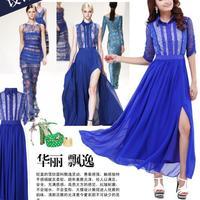 6 Summer dress 2014 Latest Sexy Lady Long Formatura Formal Gown evening Dress vestidos blusas femininas lace casual dress