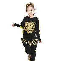2014 Rushed girls Conjunto De Roupa Clothing Set Meninas Vestir Suit Trousers Fist Tiger Haren Fall In Sports New