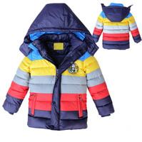 Free shipping New children winter wadded jacket stripe patchwork cotton padded jacket children winter coat & winter down jacket