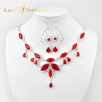 Xmas Hot Sale Promotion Fashion Silver Plated Red Austrian Crystal Necklace Earrings Wedding Jewelry Sets