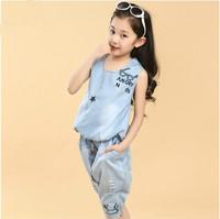 Kids Clothes Sets Real girls Meninas Vestir In 2014 Children The New Summer Korean Fashion Cowboy Suit Children's Clothing for
