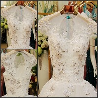 Luxury O-neck Sexy Backlesss Princess White Crystal Bowknot Ball Gown Lace Up Wedding Dress Bridal Gown(XNE-WD079)