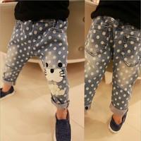 Emoji Pants Real Freeshipping Animal Lycra Leggings Pants Children 2014 Trousers Spring New Boy Child Wave Winnie Jeans
