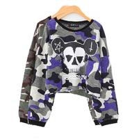 Sale! 2014 Autumn Women Harajuku Street Fashion Camouflage Skull Head Letter Long Sleeve Loose Cropped Sweatshirts Y-1110