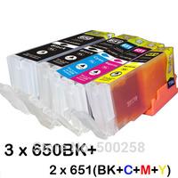 11 ink cartridge (2set+1BK) Compatible PGI-650 CLI-651 for Canon printer Pixma MG5560 MG6360
