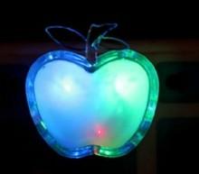 free shipping 1pcs Apple Shaped Colorful LED Night Light Energy-saving Wall Lamps Home Decoration EU Plug(China (Mainland))