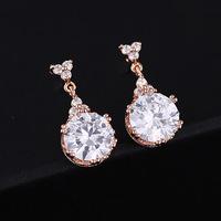 2014 Sale Freeshipping Brincos Pendientes Earrings For Women Classic Hot Zircon Earrings Wholesale 18k Rose Filled Stud