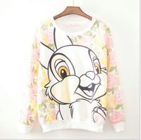 2014 Autumn and winter new style  women cotton hoodies Rose the rabbit fleece warm  women's sweatshirts 3color 817A
