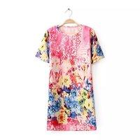 Women sweet polyester colored flower prints o-neck short sleeves regular above knee straight dress 421527