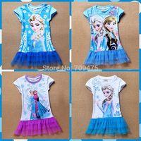 1 set free shipping Girl Summer Short Sleeve Lace  Layered Dress Frozen Princess Mesh Mini Casual Cotton Dress