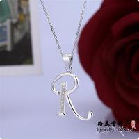 BLAL018 zircon Letter R pendant 925 silver pendants chains necklaces,  free shipping