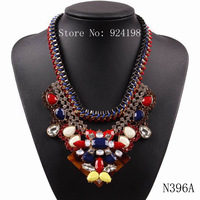 2014 new fashion model black chain string braided colorful resin crystal big chunky pendant brand statement necklace for women