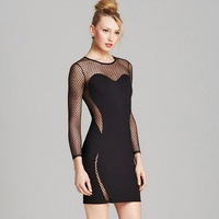 Polka Dot Fall Winter Fashion Dresses Cocktail Party Hollow Out Mesh Bandage Bodycon Dress High Quality Full Sleeve Wholesale