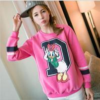 2014 New Autumn and winter new women cotton hoodies Bowknot is the duck fleece warm  women's sweatshirts 5color 820D