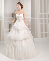 2015 New Style Bridal Dresses Strapless Ivory Satin Organza Wedding Dresses Pleat  Applique Beading A-line Bridal Gown W9184