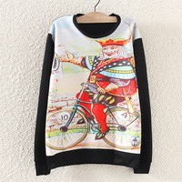 2014 new women autumn playing card spades old K printing round neck long-sleeve hoody casual Novelty sweatshirt hoodies P181