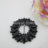 (FL760 inner bar 14mm)10 X 2014 New Design Acrylic Rhinestone Buckle For Wedding Invitation Ribbon Slider Gun Black Color