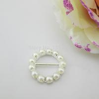 (FL761 inner bar 14mm)20 X Fabulous ivory Pearl Rhinestone Buckle For Wedding Ribbon Slider Silver Color