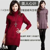 Autumn and winter long section of loose women in large size women mother long sleeve wool knit sweater sweater