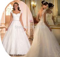 Modest Shoulder Straps Square Wedding Dresses 2014 A-Line Applique Beading Sash Lace Hemline Open Back Bridal Gowns ..