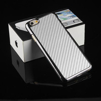 """For iphone 6 Plus 5.5 inch Case Carbon Fiber Leather Back Skin Chrome Electroplate Hard Case Cover For Apple iphone 6 Plus 5.5 """""""