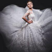 Fashionable High Neck Lace Appliques Long A Line Tulle Wedding Dresses Bride Dress Vestido De Noiva 2015 New Arrival