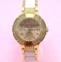 Geneva metal Crystal 3 eyes chronograph Double Row  Alloy Geneva Brand Watch 50pcs/lot