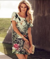 Hot Bird Print Dress Ink foreign trade Europe and America new fashion flowers retro chiffon dress Bohemian dress free shipping