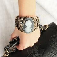 2014 New Hot Selling vintage Hollow Bangles Carved Prayer Beauty Avatar bracelet for Women