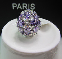 YTJZ019 Luxury Fashion Elegant Purple ZC Crystal Vintage Exaggerated Ring Jewelry For Women Wedding Party 925 Silver Sterling