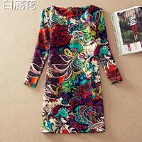 2014 New Arrival Spring Summer Autumn Women Dresses Fashion Plus Size Euro America Style Slim Vintage Print Casual Dress