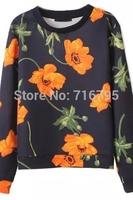 2014 New women Sweatshirt Fancy Women Round Neckline Long Sleeves Floral Black Sweatshirt