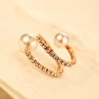 YTJZ020 Korean Brand Luxury Full Crystal With Double Pearls Vintage Ring Jewelry For Women Party Weddings Exaggerated Brincos