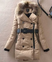Wholesale!women's large fur collar slim fashion medium-long thickening down coat khaki orange black winter parkas outerwear