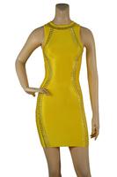 Free Shipping 2014 New Arrival Women's yellow & black Rivet spaghetti Strap Bandage Dress HL Sexy Evening Party Prom Dresses
