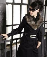 2014 New women winter coat Fashion Large Fur Collar Double-breasted Metal buckle belt Slim coat Women winter jacket 3 Colors