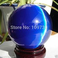 001243 AAA+++ Hot Sell ASIAN QUARTZ DEEP BLUE CAT EYE CRYSTAL BALL SPHERE 100MM + STAND