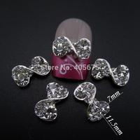 MNS620 Glitter rhinestones nail bow DIY scrapbooking and nail art decorations accessories china beauty supply 50pcs