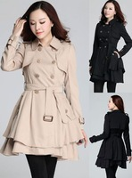 2014 new design big size women coat plus size long sleeves trench outwear hooded women clothes loose slimming elegant