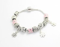 2014 New European Style 925 Silver Plated snake Chain Charm Bracelet & Bangle With Pink beads for Women gift DIY Jewelry