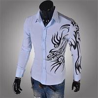 2014 New Fashion Personality Dragon Printed Long-Sleeve Slim Fit Stylish Korean Style Men Shirts